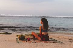 Series traveling girl in Asia. beautiful girl on the beach in beautiful nature place in Bali. Series traveling girl in Asia. in beautiful nature place in Bali stock image