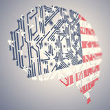 Series of USA flags formed and shaped creatively - digital brain Royalty Free Stock Photo