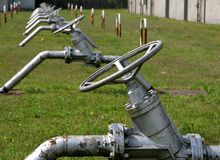 Series valves control the flow of gases and flammable liquids in Stock Photo