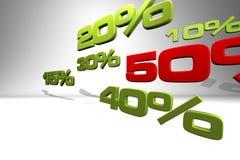Series of various percentage numbers Stock Image
