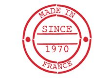 Various Rubber Stamp Made in France. Series of Various Rubber Stamp Made in France Since 1970 Stock Photography