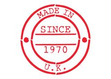 Various Rubber Stamp Made in UK. Series of Various Rubber Stamp Made in UK Since 1970 Stock Images