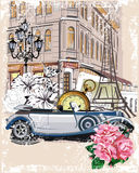 Series of vintage backgrounds decorated with retro cars and old city street views. Stock Image