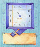 Series of watercolors. Wall clock with a banner for text Stock Image