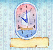 Series of watercolors. Wall clock with a banner for text Royalty Free Stock Image
