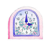 Series of watercolors. Wall clock isolated on whit Stock Photos