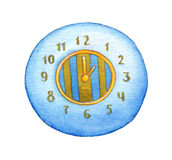Series of watercolors. Wall clock isolated on white background Royalty Free Stock Photos