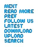 Series of website text. White isolated blue text series of website text menus Royalty Free Stock Image