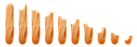 Series of whole and bitten baguette progressively Royalty Free Stock Photo