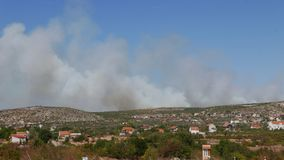 Wildfire devastating the land in Croatia Royalty Free Stock Photography