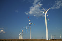 Series of wind power generators Royalty Free Stock Image