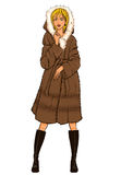 Series - Woman in fur coat. Elegant beautiful woman with dark hair wears winter clothes: long fur coat and high boots. Vector color hand drawing. Comics style Royalty Free Stock Photography