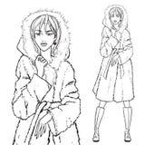 Series - Woman in fur coat. Elegant beautiful woman wears winter clothes, fur coat. Vector monochrome hand drawing Royalty Free Stock Image