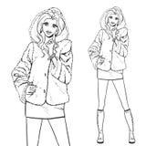 Series - Woman in fur coat. Elegant beautiful woman wears winter clothes, fur coat. Vector monochrome hand drawing Royalty Free Stock Photo