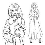 Series - Woman in fur coat. Elegant beautiful woman wears winter clothes, fur coat. Vector monochrome hand drawing Stock Photos