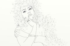 Series of women drawn in cartoon portraits, with sand in their hair Stock Photography