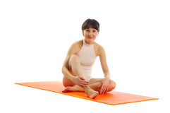 Series of yoga asana photos. Royalty Free Stock Image