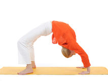Series or yoga photos.woman in chakrasana pose Royalty Free Stock Photos