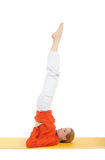 Series or yoga photos.woman in sarvangasana pose Stock Image