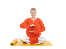 Series or yoga photos.young meditating woman Stock Photo