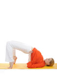 Series or yoga photos. young woman doing yoga pose Royalty Free Stock Image