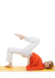 Series or yoga photos.young woman doing yoga pose royalty free stock photos