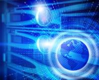 Serieskivminneskivor av värddatoren i datorhall med hög hastighetsinternetteknologi med jord för planet 3d Royaltyfri Bild