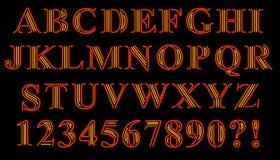 Serif Alphabet de neón Foto de archivo libre de regalías