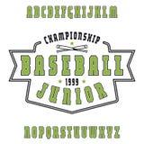 Serif font with contour. Baseball emblem. Color print on white background Stock Photos