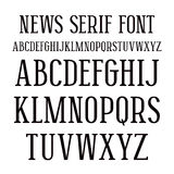 Serif font in newspaper style Stock Photo