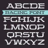 Serif font in retro racing style Stock Photo