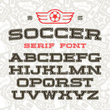 Serif font in sport style. With contour. Black font on light pattern background Stock Image