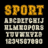 Serif font in sport style with contour. Letters with shabby texture. Print on black background Royalty Free Stock Photography