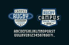 Serif font in the sport style and rugby badges for t-shirt. Letters and numbers for logo and title design. Print on black background Royalty Free Stock Photography