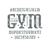 Serif font in the sport style. Letters and numbers with rough texture for logo and title design. Print on white background Royalty Free Stock Images