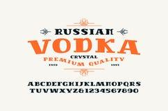 Serif font and vodka label stock illustration