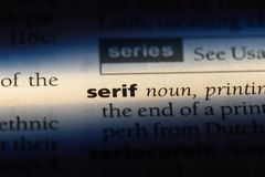 Serif. Word in a dictionary.  concept royalty free stock photos
