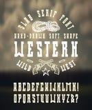 Serifguß in der Westart mit von Hand gezeichneter weicher Form Lizenzfreie Stockfotografie