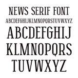 Serifguß in der Zeitungsart Stockfoto