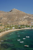 Serifos-Cyclades, Greece. Picturesque coastal village with great beach Royalty Free Stock Photos