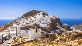 Serifos island, view of Chora village Stock Images