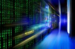 Serii komputer mainframe w futurystycznym przedstawicielstwie matrycowy kod Zdjęcia Stock