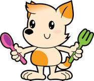 Serii kreskówki małego psa mienia rozwidlenie i łyżka Obrazy Royalty Free
