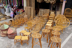 Serikin Market, Sarawak. SARAWAK, MALAYSIA-JUNE 2: Furniture and household items made from rattan and bamboo on sale at the Serikin weekend market near Malaysia/ royalty free stock photo