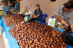 Serikin Market, Sarawak. SARAWAK, MALAYSIA-JUNE 2: Woman selling Salak fruit or snake fruit at the Serikin weekend market near Malaysia/Indonesia border on June Stock Images