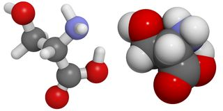 Serine (Ser, S) molecule Royalty Free Stock Photo
