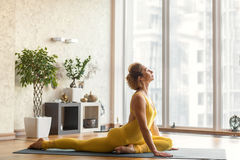 Serine woman doing yoga with relaxation Royalty Free Stock Photos