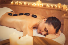 Serine young woman relaxing at spa Royalty Free Stock Image