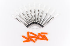 Seringas da insulina no fundo branco Fotos de Stock Royalty Free