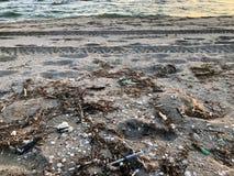 Seringas m?dicas entre os escudos rapan na areia na praia do mar ap?s a tempestade imagem de stock